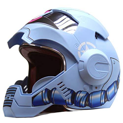 wthfwm Casco Moto, Caschi Moto Integrale, Casco Open-Face Rosa Casco Vintage Harley Casco per Adulto,Blue-S