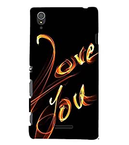 FUSON I Love You 3D Hard Polycarbonate Designer Back Case Cover for Sony Xperia T3