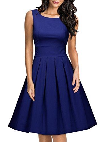 Miusol Damen Elegant Rundhals Traegerkleid 1950er Retro Cocktailkleid Faltenrock Kleid Navy Blau...
