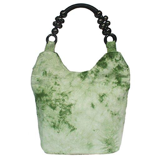 kilofly-Bohemian perline Maniglia Superiore panno borsa borsa a tracolla, verde