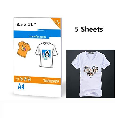 Carta fotografica per trasferimento a caldo, per magliette, 21,6 x 27,9 cm, 5 fogli