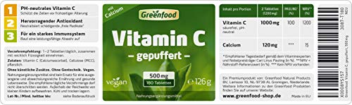 Greenfood Vitamin C, magenfreundlich, pH-neutral, 500mg, hochdosiert, 180 Tabletten -