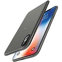 iPhone X Hülle Case, [Unterstützt kabelloses Laden (Qi)] EasyAcc Dünn Transparent 0.45mm PP Handyhülle Cover Anti-Kratzer Schutzhülle leichter Tasche für iPhone X - Halb Transparent Schwarz
