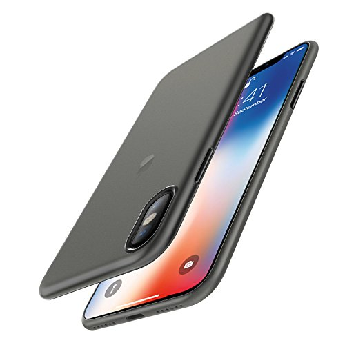 Easyacc iphone x custodia, [funziona la ricarica wireless] ultra sottile solo 0,45 mm pp anti graffio case anti impronte protettiva e leggera cover per iphone x - nero semitrasparente