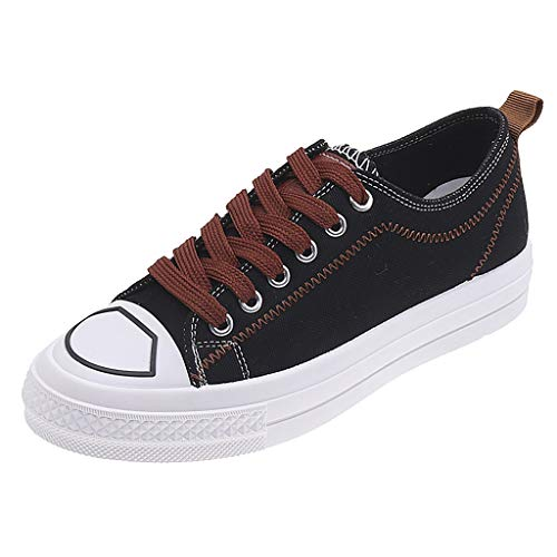 ♔JUSTSELL♔ Ladies Canvas Shoes Womens Girls Shoes Casual Lace Up Retro Plimsolls Plimsoles Low Top Flat Gym Sports Trainers Lightweight Sneakers Fashion Pumps