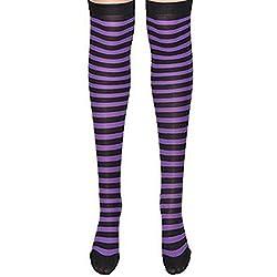 THEE Medias para Disfraz Payasode Calcetines de Rayas para Halloween
