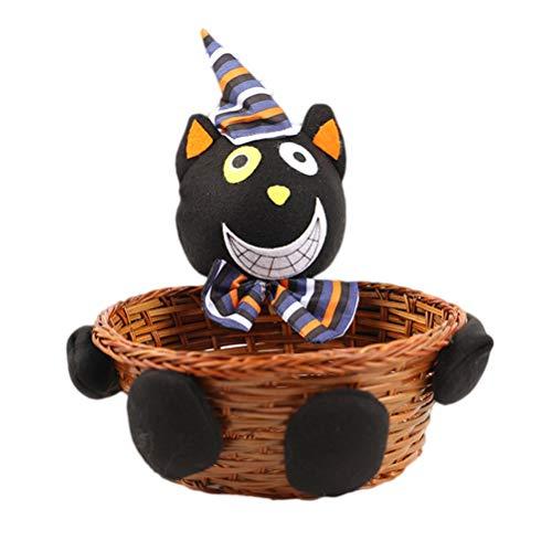 Mini Schöne Schwarze Puppe Halloween Candy Ablagekorb Tragbare Lebensmittel Ablagekorb Halloween Party Decor (Schwarz) ()