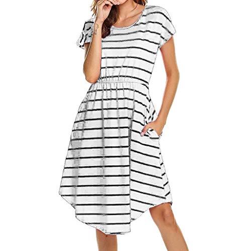 Pingtr - Damen Elagant Umstandskleid,Sommerkleider Umstandskleider - Frauen Short Sleeve Stripe Stillkleid für Schwangere -