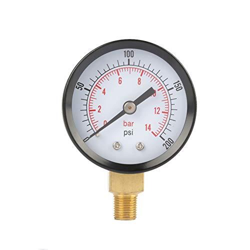 Dual Scale Manometer, Luft-Gas-Wasser-Messgerät 0-200psi / 0-14bar mit 1/8 Zoll NPT-Bodenbefestigung -