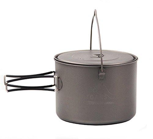 tentock 1600ml 2-3Person Ultralight Outdoor Kochgeschirr Titan Portable Kochen zum Aufhängen Töpfe mit Silikon Zusammenklappbar Griff und Deckel für Camping, Grill Angeln, 1600ml