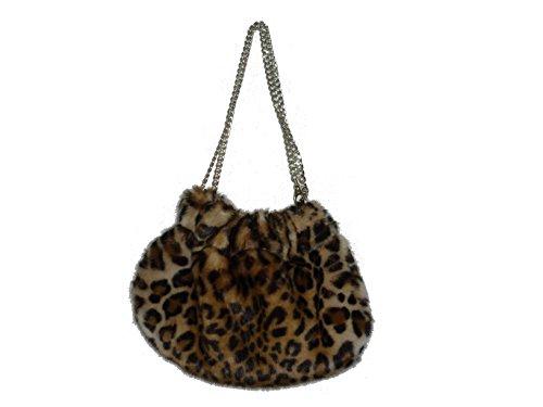 Ilaria f. borsa leopardata donna in ecopelliccia con catenella allungabile