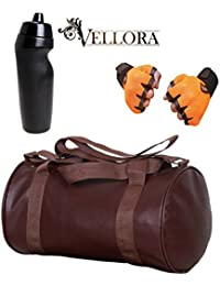 VELLORA Soft Leather Duffel Gym Bag (Brown) With Penguin Sport Sipper, Gym Sipper Water Bottle And Orange Color...