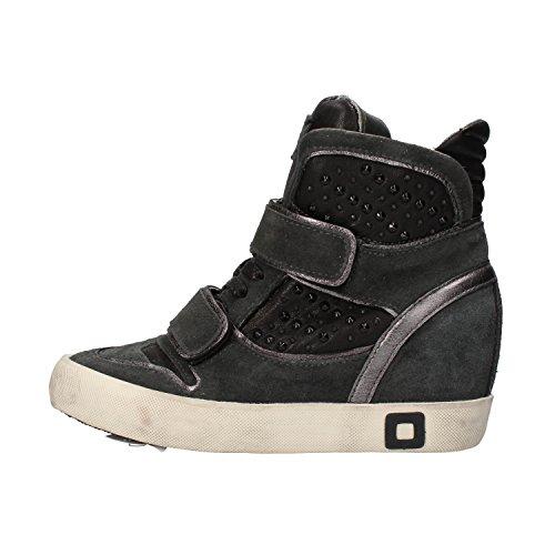 D.A.T.E. (DATE) sneakers donna nero grigio camoscio pelle (37 EU, Nero)