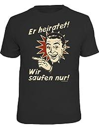 Original RAHMENLOS® T-Shirt für das JGA-Team beim Junggesellenabschied links vom Bräutigam: Er heiratet…
