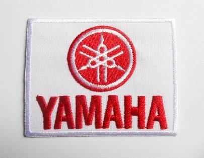Patch-Yamaha-Weiß Rot-Biker Motocross-Motorrad-Motor Bike-Sport-Motorcycles-Racing Team-Biker-Patches-Badges Embleme Bild zum Aufbügeln Bügeleisen -