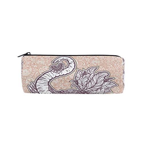 Linomo - Estuche para lápices, diseño de flores y elefantes indios