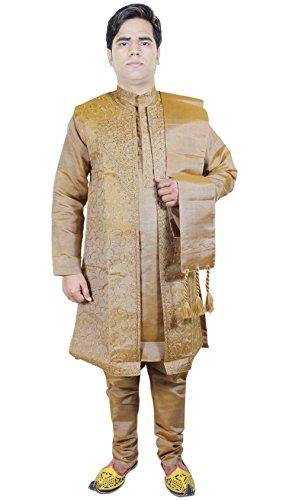 Uomo Dress 4 pezzi Sherwani Kurta pigiama Stole Set moda partito Giallo Taglia L