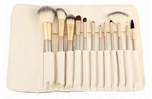 NWYJR Ensemble de brosse à maquillage Set de brosse à maquillage Ensemble de brosse à maquillage de 12 pièces Kits de maquillage de visage et maquillage Ensemble de brosse à maquillage doux et naturel Kabuki avec sac en cuir souple (blanc crémeux)