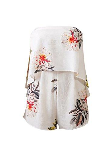ACHICGIRL Women's Fashion Strapless Floral Printed Romper white