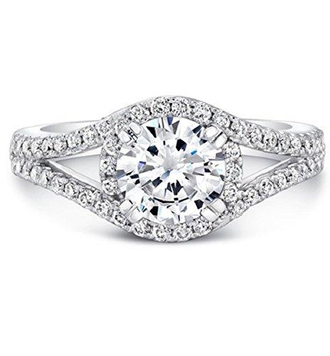 Gowe Solide 14K Weiß Gold 1ct moissanites Diamant Ring Split Schaft Halo Lab gewachsen Diamant