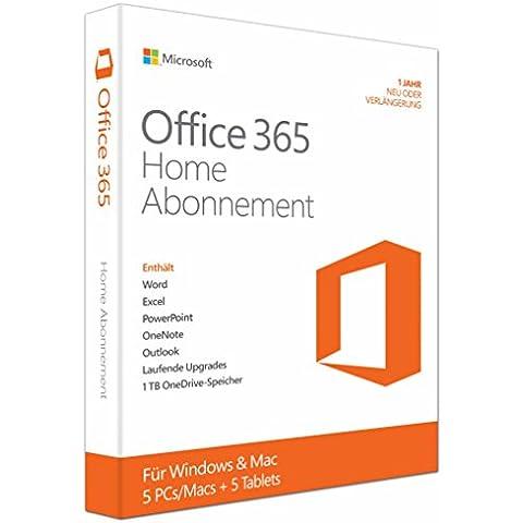 Microsoft Office 365 Home - Suites de programas (DEU, Windows 10 Education, Windows 10 Education x64, Windows 10 Enterprise, Windows 10 Enterprise x64, Wi, Mac OS X 10.10 Yosemite, Mac OS X 10.11 El