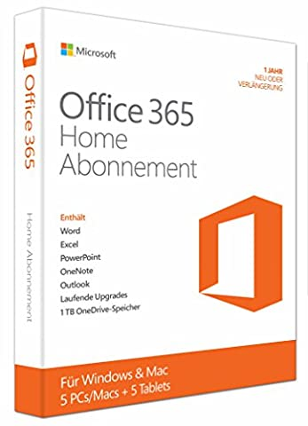 Microsoft Office 365 Home - 5PCs/MACs - 1 Jahresabonnement - multilingual (Product Key Card ohne