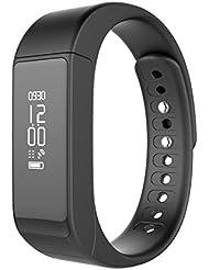 SINDTOP SmartWatch I5 Plus - Podómetro medidor de la actividad, pulsera de fitness, reloj deportivo, con Bluetooth 4.0, pantalla led impermeable IP65, análisis del sueño, registro de pasos, análisis de calorías, con recordatorio de SMS y llamadas para smartphone, 0.06 pounds, color negro