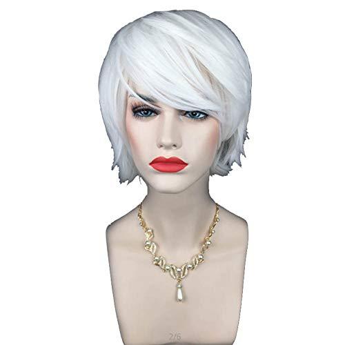 Kurze Perücke Für Frauen Synthetisch Volles Haar Perücken Mädchen Pastell Hitzebeständig Cosplay Party Natürlich Als Echthaar,White,12inches