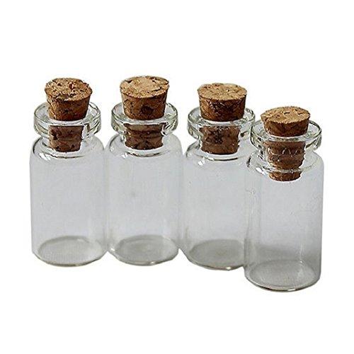 originaltree 100niedlicher Mini-natureas Kork Stopper Glas Ampullen ätherisches Öl Behälter Wishing Flaschen (Glas-flasche Stopper)