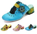 gracosy Damen Pantoletten, Sommer Leder Sandalen Leder Vintage Slipper Clogs Espadrilles Bequem Anti-Rutsch Bunte Blume Hausschuhe Pink 39