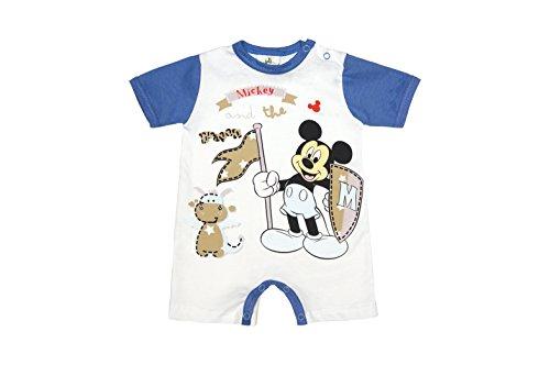 Disney - Mickey Mouse Jungen Baby-Spieler Dragon aus Baumwolle, Spiel-Anzug mit Druck-Knöpfen, Baby-Schlafanzug kurz-arm in blau oder weiß, Body in GRÖSSE 56, 62, 68, 74, 80 Farbe Weiss, Größe 62
