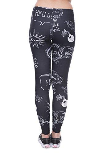 Bunte Damen Leggings Hose Einheitsgröße S-L | Mädchen Leggins bedruckt in verschiedenen Muster | Yoga Pants High Waist auch als Sporthose für Workout Doodle Black