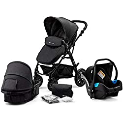 Kinderkraft Pram MOOV 3 in 1 Set Folded Travel System with Infant Car Seat Carrycot Pushchair | Accessories Rain and Foot Cover Mosquito Net from Birth to 3 Years (0-13kg) Black