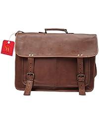 Anshika International Original Leather Laptop Messenger/Satchel Bag - Brown - Size 18 Inch - Unisex