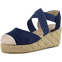 ESAILQ -Sandalias Mujer Cuña, Verano Plataforma Punta Cerradas Bohemias Zapatos De Tacón Alto Alpargatas