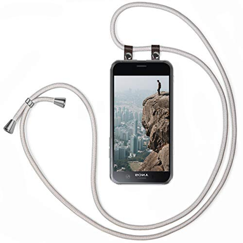 MoEx Handykette für Sony Xperia XZ1 Compact Handyband Hülle mit Band zum umhängen Kordel Handyhülle mit Kette Necklace Silikon Case Handykordel Umhängehülle Handy Schutzhülle Schnur - Silber