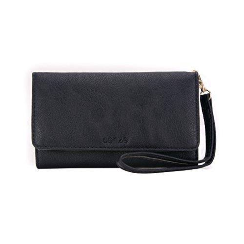 conze Fashion Téléphone portable petit sac de transport avec sangle croix corps compatible avec ASUS a501cg ZenFone 5téléphone portable/2e/C zc451cg Black + Flower noir