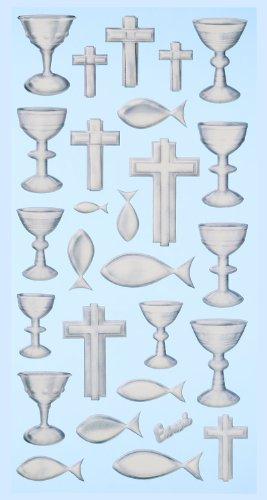 Creapop Sticker Softysticker * Konfirmation / Kommunion / Kirche - Silber * Aufkleber