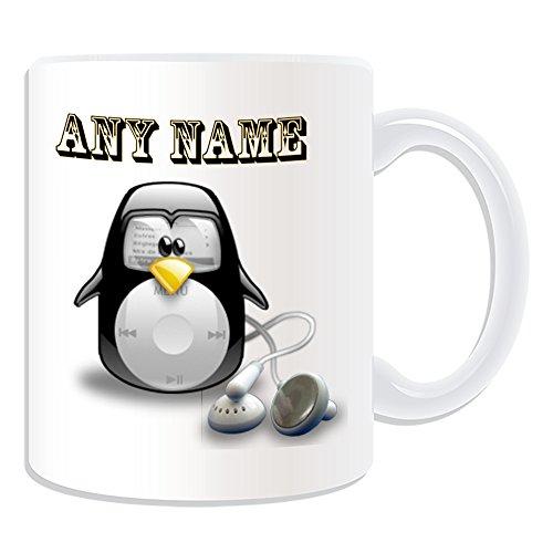 Personalisiertes Geschenk-iPod Classic Tasse (Pinguin in Kostüm Design Thema, weiß)-alle Nachricht/Name auf Ihre einzigartige-Apple Musik (Weiße Apple Kostüm)