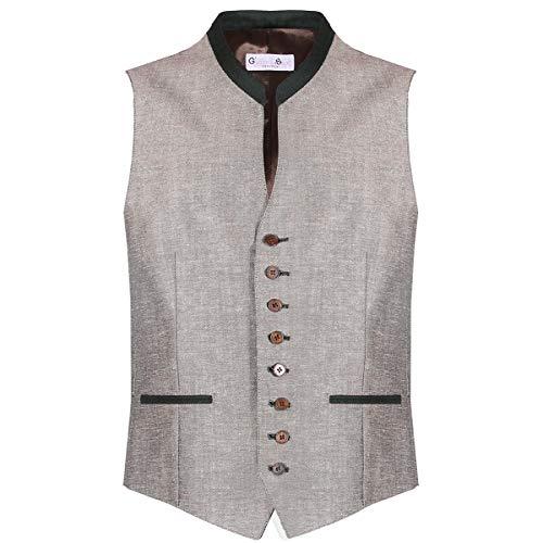 Gweih und Silk Herren Trachten-Mode Trachtenweste Chris, Größe:XXL, Farbe:Beige - Geprägtes Leder Blazer