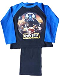 Boys & Kids Angry Birds Star Wars Long Sleeved Shirt and Trousers Pyjamas Nightwear Sleepwear Set in Navy 9-10 Years