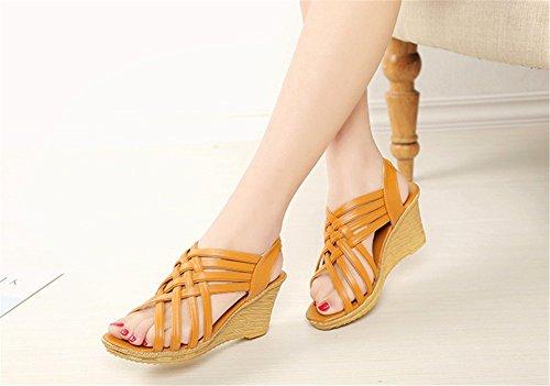 Cunha Das Sapatos Alto Wealsex Salto Calcanhar De Mulheres Marrom Sandálias qtvIt