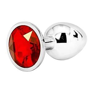 Nuovo Jewelled Il giro Butt Fun Plug Roleplay giocattolo del metallo Plug coda di piccole dimensioni di colore argento (S, ROSSO)