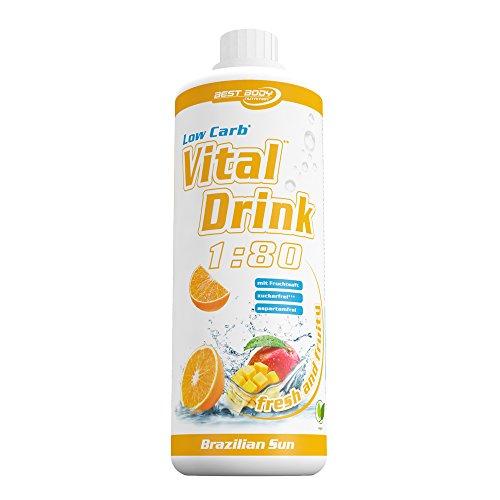 Best Body Nutrition - Low Carb Vital Drink, Brazilien Sun, 1000 ml Flasche
