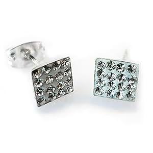 Bling Argent Sterling 6 mm carré orné de Micro cristaux Swarovski-Boucles d'oreilles clous en cristal Blanc/transparent