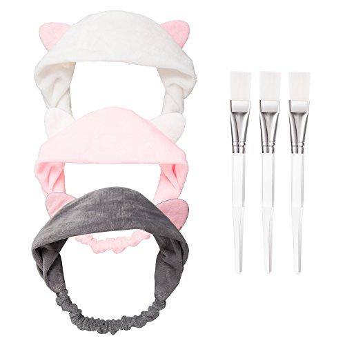 HBselect 3 Stück Gesichtsmaske Pinsel mit 3 Katze Ohr Stirnband Schminken Werkzeug Set für Gesichtsmaske und Augenmaske grau rosa weiß -