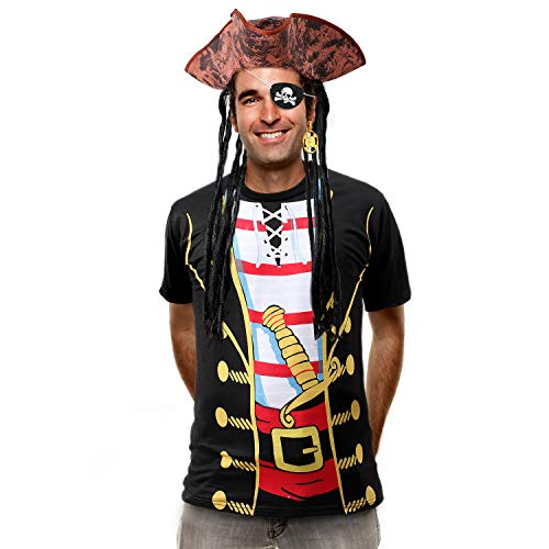 Tacobear Piraten Kostüm Erwachsene mit Piraten Zubehöre Piraten Hut Perücke Piraten T-Shirt Piraten Augenklappe Ohrring Piraten Party Fancy Dress Kostüm für Herren Damen - Herren Piraten Kostüm Tshirt