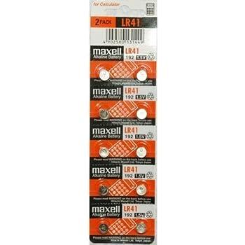 Maxell LR41 - 192 - V3GA - AG3 - 384 - SR41SW - RW37 - V384 1.5 V Alkaline Cell Battery (10 Pcs per Pack)
