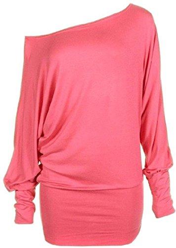 Molti dei nuovi misceli donna trendy in spalla ìwptp carampana trasparente Top donna sexy maniche lunghe-soft-touch-mode lässig dell'abito l'alto seruna 36-42 koraal