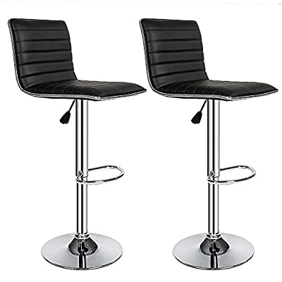 TecTake 2 Bar stools set faux leather kitchen breakfast stool dining room chair black produced by TecTake - quick delivery from UK.